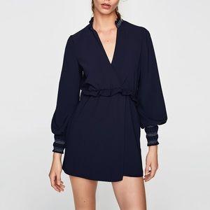 Zara navy blue jumpsuit with elastic cuffs